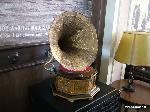 A phonograph or victrola used as a decoration in the cafe