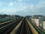 Heading down the tracks on the Flushing line towards NYC.