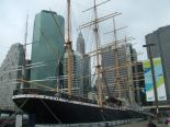 The South Street Seaport.  A view of a tall ship in the
